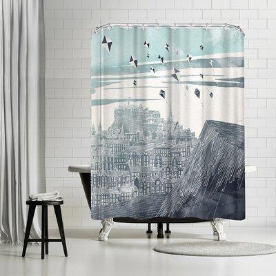David Fleck Kites at Dawn Shower Curtain Color: White/Blue-Gray/Gray/Black
