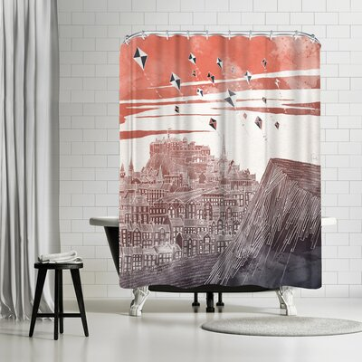 David Fleck Kites at Dawn Shower Curtain Color: Eggplant/Copper/Venetian-Red