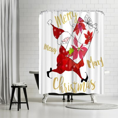 Edith Jackson Elf with a Package Shower Curtain