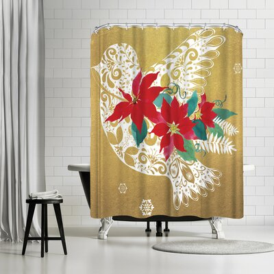 Edith Jackson Bird of Christmas Shower Curtain