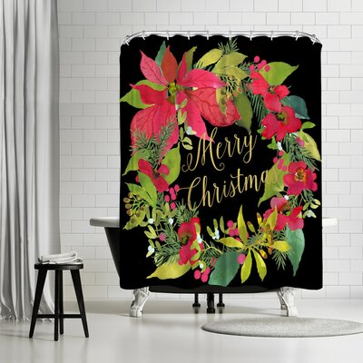 Edith Jackson Christmas Wreath Shower Curtain