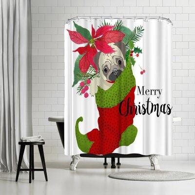 Edith Jackson Pug Christmas Shower Curtain