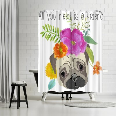 Edith Jackson All You Need is a Friend Shower Curtain
