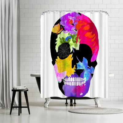 Edith Jackson Skull of Flowers Shower Curtain