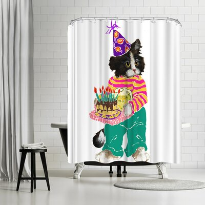 Edith Jackson Birthday Cat Shower Curtain