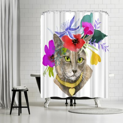 Edith Jackson Flower Cat Shower Curtain