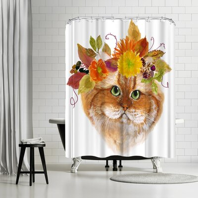 Edith Jackson Flower Brown Cat Shower Curtain