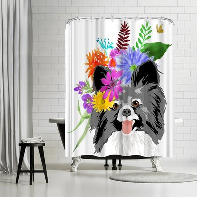 Edith Jackson Flower Dog Shower Curtain
