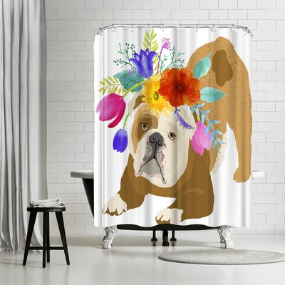 Edith Jackson Flower Brown Dog Shower Curtain