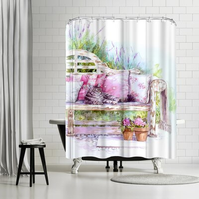 Harrison Ripley Cat on a Bench Shower Curtain