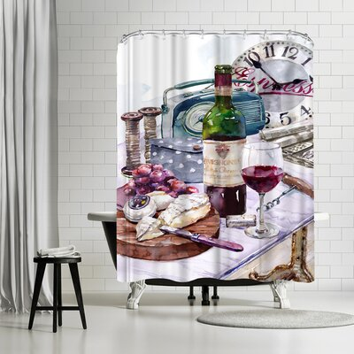 Harrison Ripley Cheese and Wine Shower Curtain