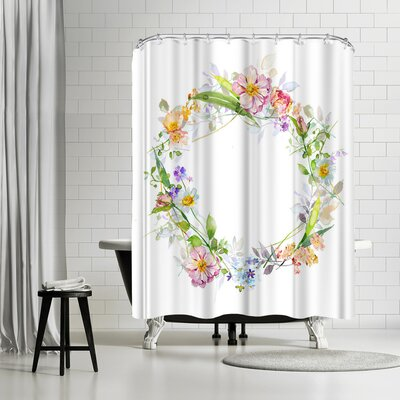 Harrison Ripley Floral Wreath Shower Curtain