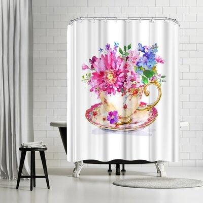 Solveig Studio Vintage Cup Floral Shower Curtain