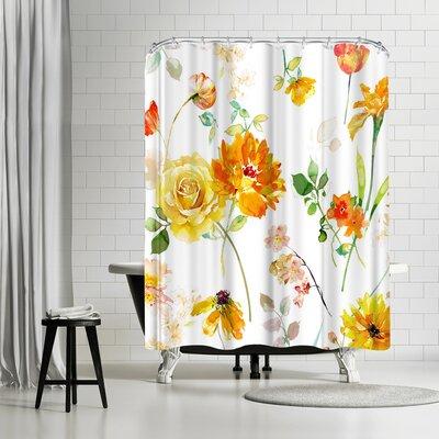 Solveig Studio Vintage Yellow Floral Shower Curtain
