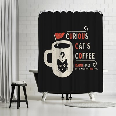 NDTank Curious Cats Coffee Shower Curtain