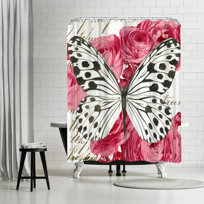 Solveig Studio Black and White Butterfly Ranunculus Card Shower Curtain