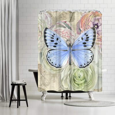 Solveig Studio Blue Butterfly and Ranunculus Shower Curtain