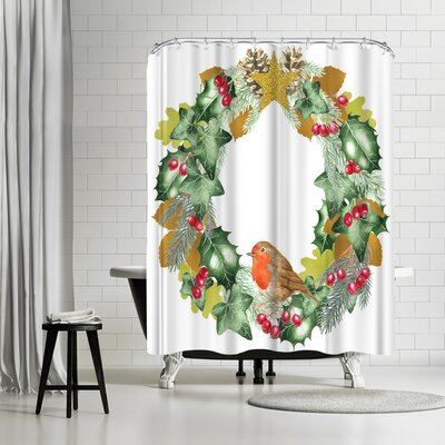 Solveig Studio Christmas and Metallic Leaf Wreath Shower Curtain