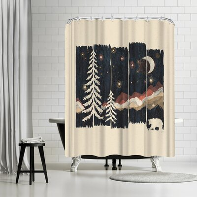 NDTank Starry Night in the Mountains Shower Curtain