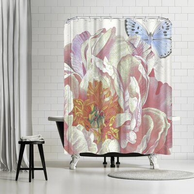 Solveig Studio Peony Butterfly Shower Curtain
