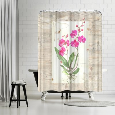 Elizabeth Hellman Orchid Woodgrain Shower Curtain