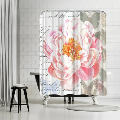 Elizabeth Hellman Peach Peony Butterflies Shower Curtain
