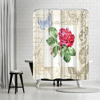 Elizabeth Hellman Red Rose with Butterflies Shower Curtain