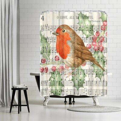 Elizabeth Hellman Robin Music Card Shower Curtain