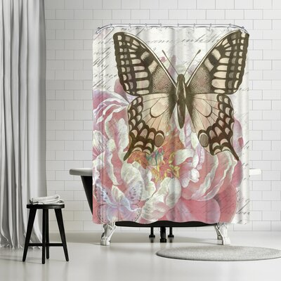 Elizabeth Hellman Sepia Swallowtail Shower Curtain
