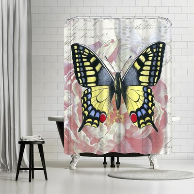 Elizabeth Hellman Swallowtail Peach Peony Shower Curtain