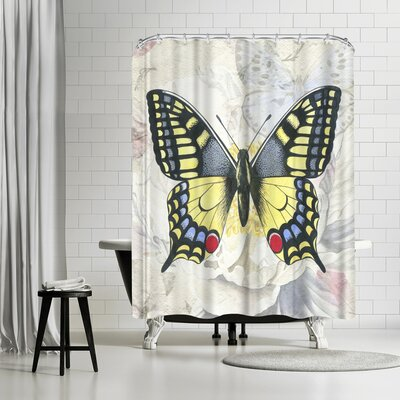 Elizabeth Hellman Swallowtail White Peony Shower Curtain
