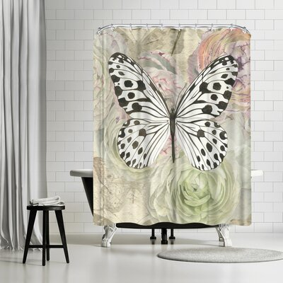Elizabeth Hellman White and Black Butterfly and Ranunculus Shower Curtain
