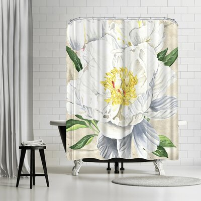 Elizabeth Hellman White Peony Shower Curtain