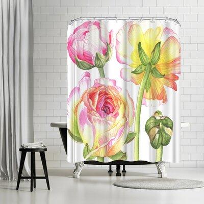 Elizabeth Hellman Yellow and Pink Ranunculus Shower Curtain