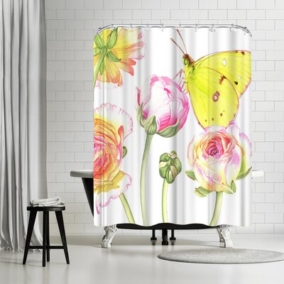 Elizabeth Hellman Yellow Butterfly Ranunculus Shower Curtain