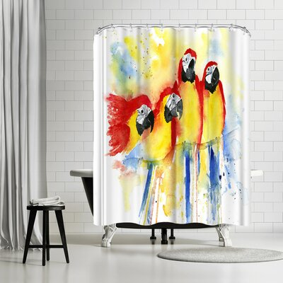 Rachel McNaughton Red Macaws Shower Curtain