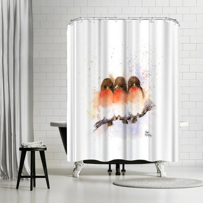 Rachel McNaughton Cute Robins Shower Curtain