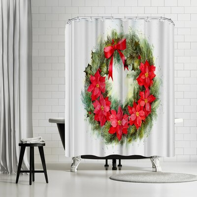 Rachel McNaughton Poinsettia Wreath Shower Curtain