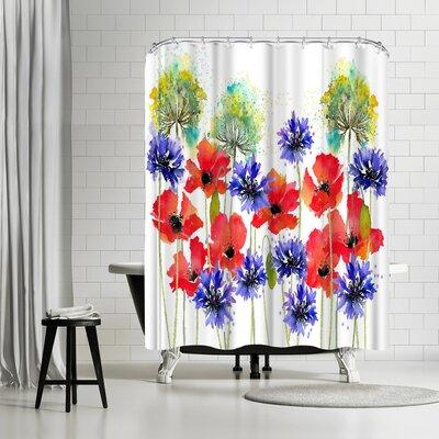 Rachel McNaughton Poppies Parsley and Cornflowers Shower Curtain