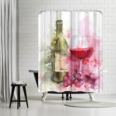 Rachel McNaughton Red Wine and Grapes Shower Curtain