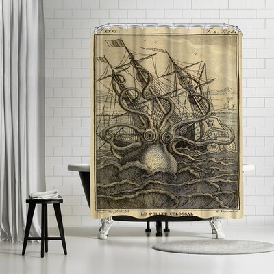 Adams Ale Marine Kraken Shower Curtain Color: Banana Mania/Black/Gold/Charcoal-Gray