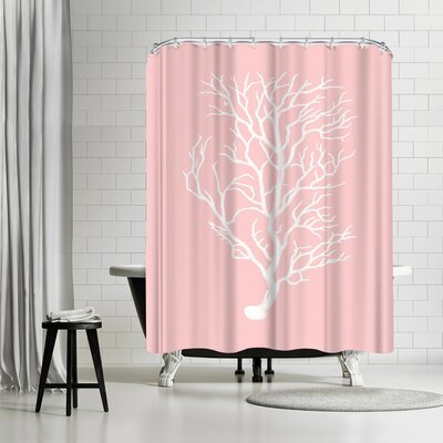 Adams Ale Mil Pink Branch Coral Shower Curtain