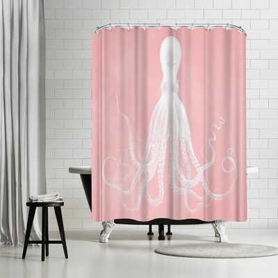 Adams Ale Mil Lenial White Octo Shower Curtain Color: Pink/White