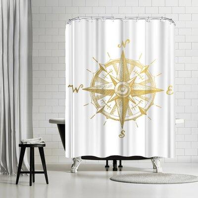 Adams Ale Gold Foil Compass Shower Curtain