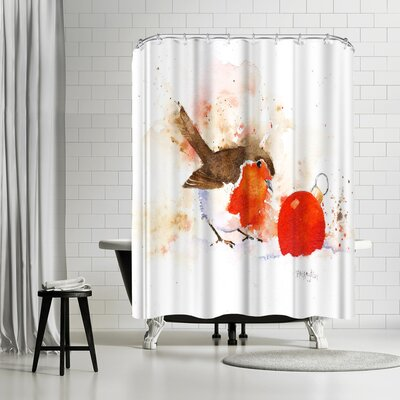 Rachel McNaughton Splashy Robin and Bauble Shower Curtain