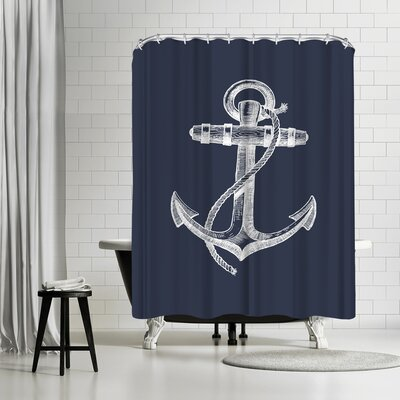 Adams Ale Navy Anchor Shower Curtain