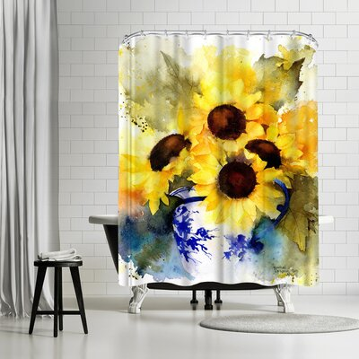Rachel McNaughton Sunflowers Vase Shower Curtain