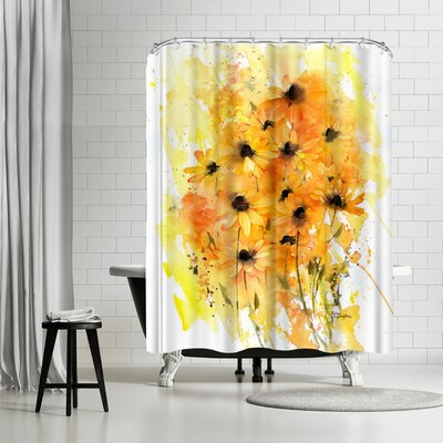 Rachel McNaughton Washy Rudbeckia Shower Curtain