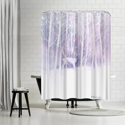 Rachel McNaughton Deer Frosty Forest Shower Curtain