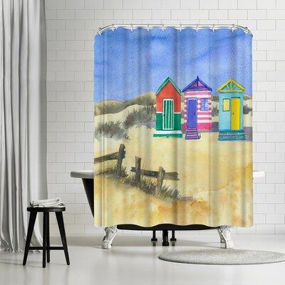 Rachel McNaughton Beach Huts Shower Curtain
